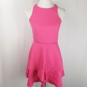 Adelyn Rae Pink Cross Back Zip Fit And Flare Dress